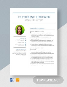 Application Support Resume Template
