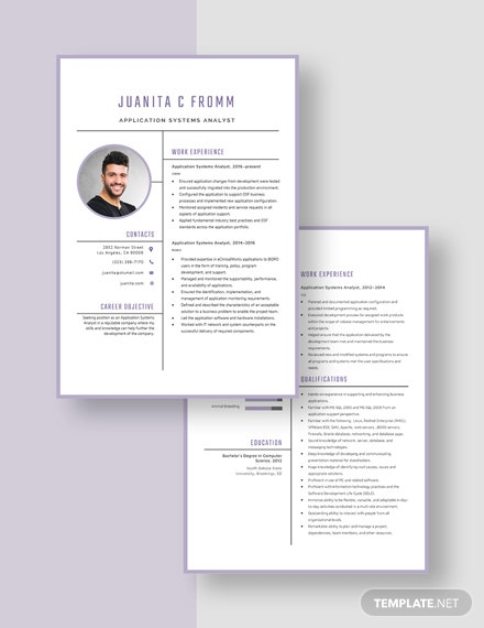 Application Systems Analyst Resume Download