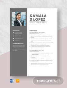 Auto Claims Adjuster Resume Template