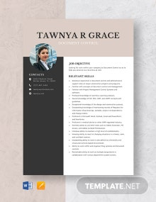 Document Control Resume Template