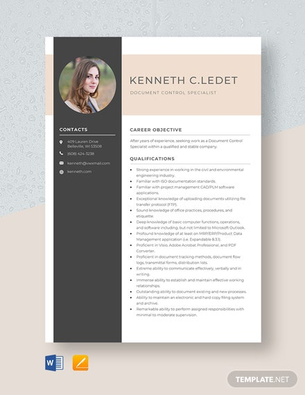 Document Control Specialist Resume Template