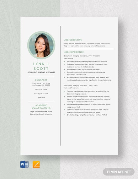 Document Imaging Specialist Resume Template