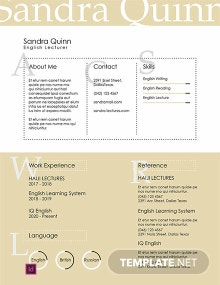 Free English Lecturer Resume Template