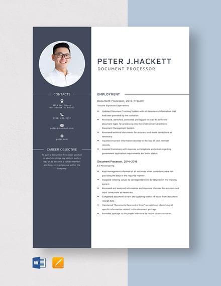 Document Processor Resume Template