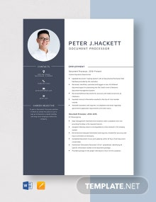 Document Processor Resume Template