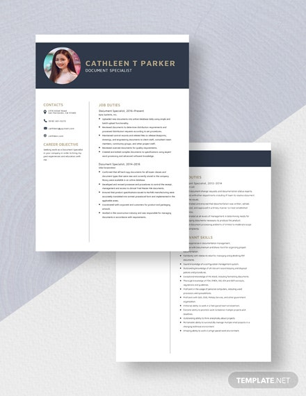 Document Specialist Resume ResumeDownload