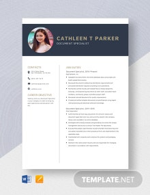 Document Specialist Resume Template