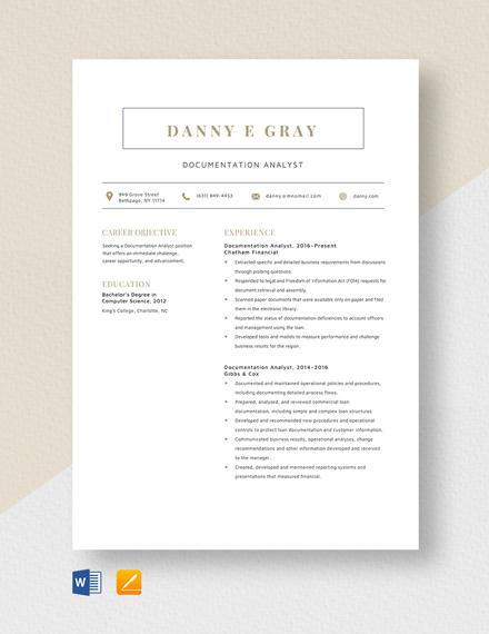 Documentation Analyst Resume Template