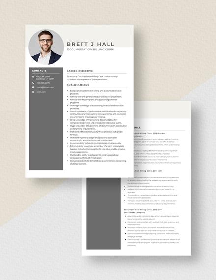 Documentation Billing Clerk Resume Download