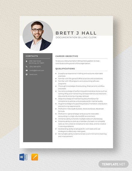 Documentation Billing Clerk Resume Template