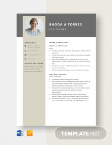 Dog Trainer Resume Template