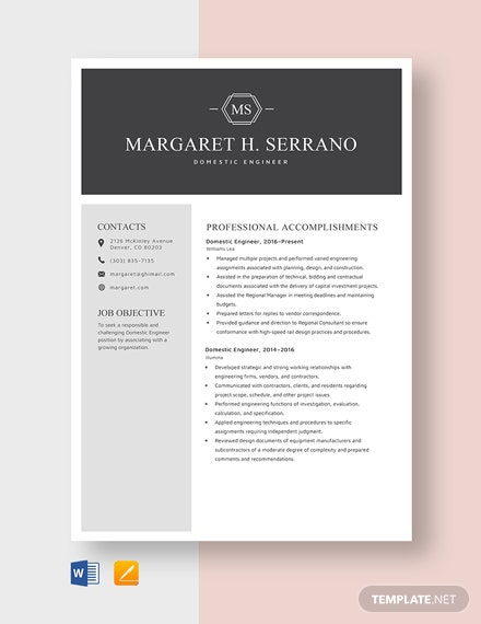 Domestic Engineer Resume Template