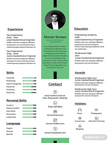 Free Geotechnical Engineer Resume Template