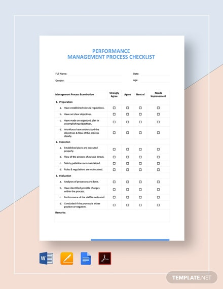 Performance Management Process Checklist Template