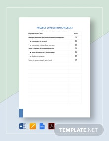 Project Evaluation Checklist Template