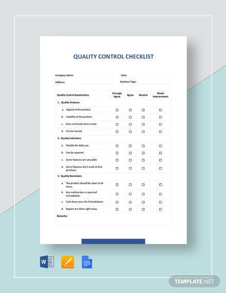 Quality Control Checklist Template