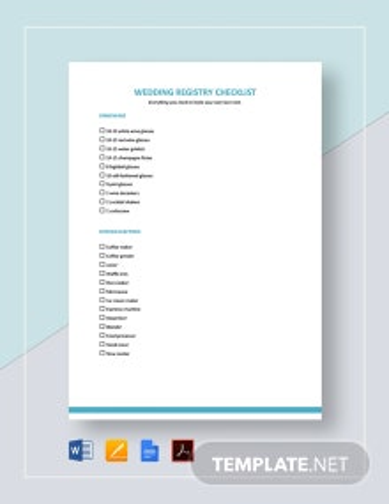 Registry Checklist Template