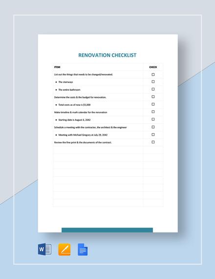 Renovation Checklist Template