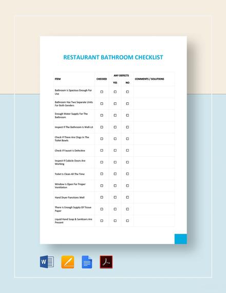 Restaurant Bathroom Checklist Template
