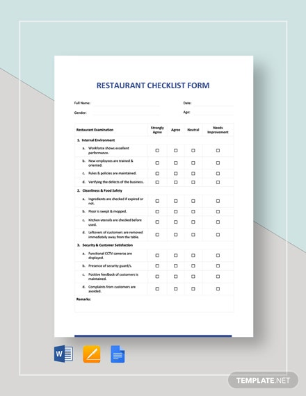 Restaurant Checklist Form Template