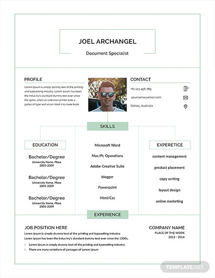 Free Document Specialist Resume Template