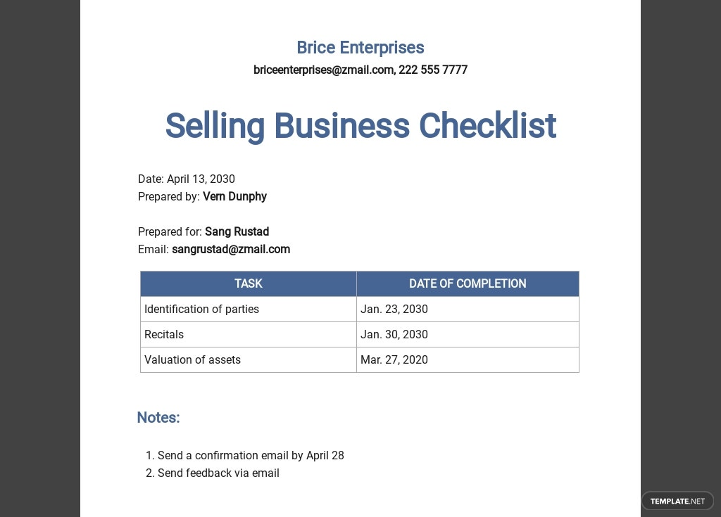Selling Business Checklist Template