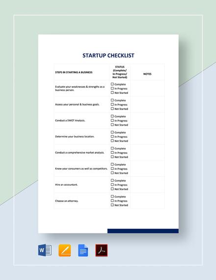 Start Up Checklist Template