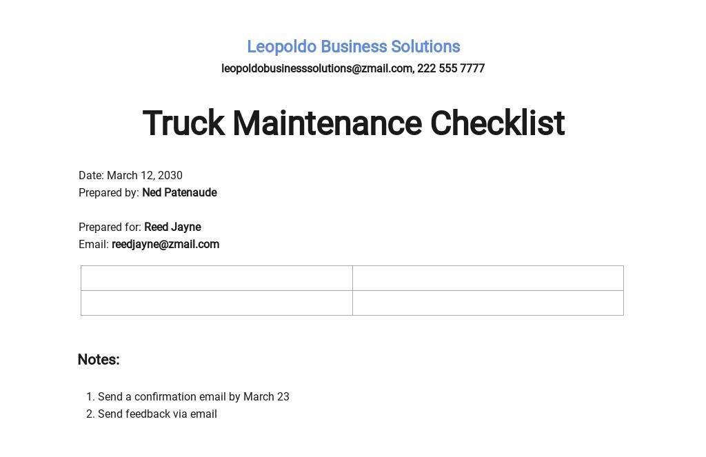 Truck Maintenance Checklist Template