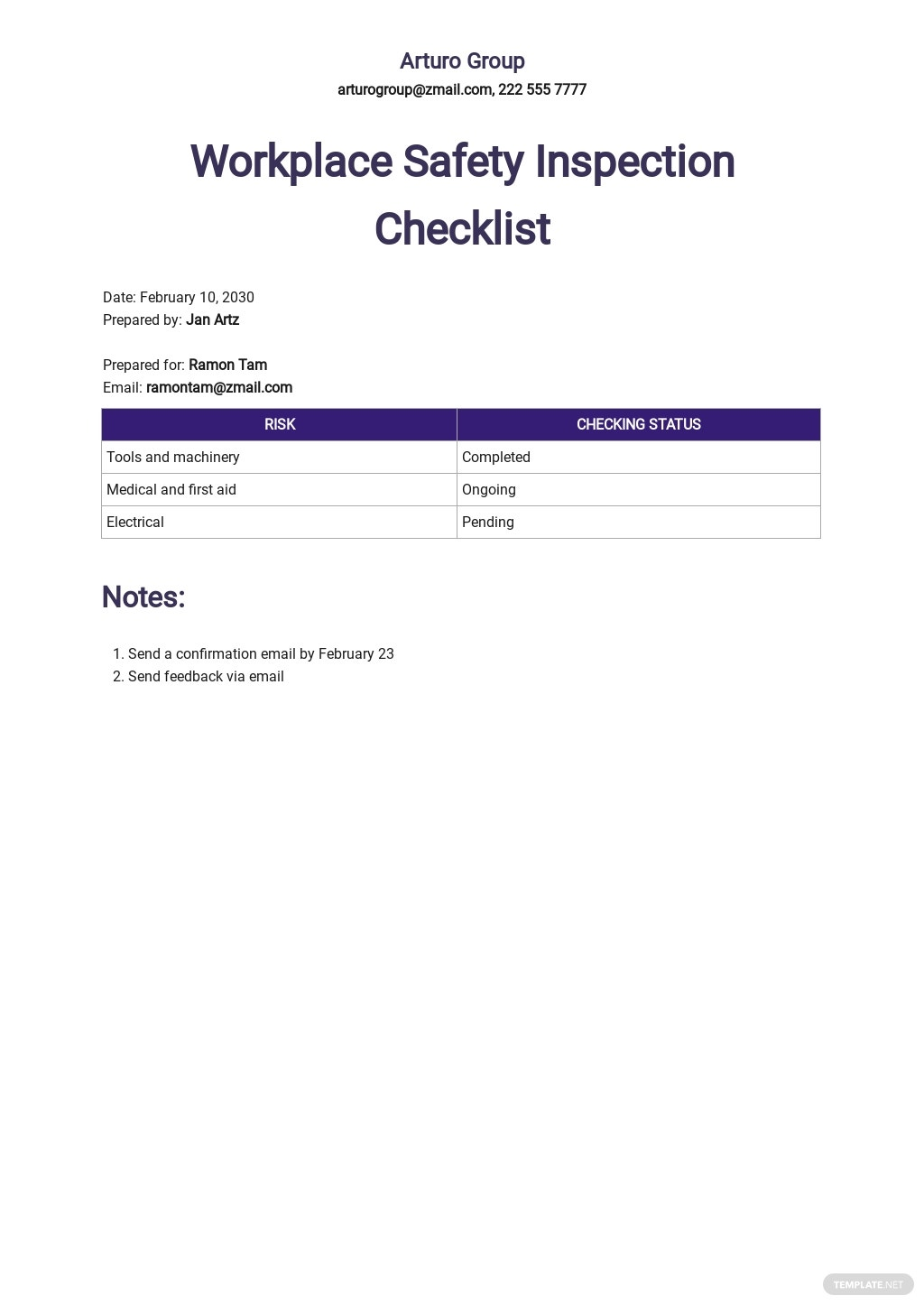 Workplace Safety Inspection Checklist Template.jpe
