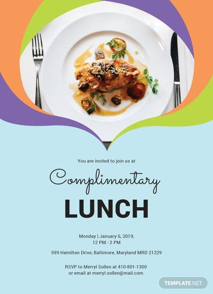 free team lunch invitation template in adobe illustrator