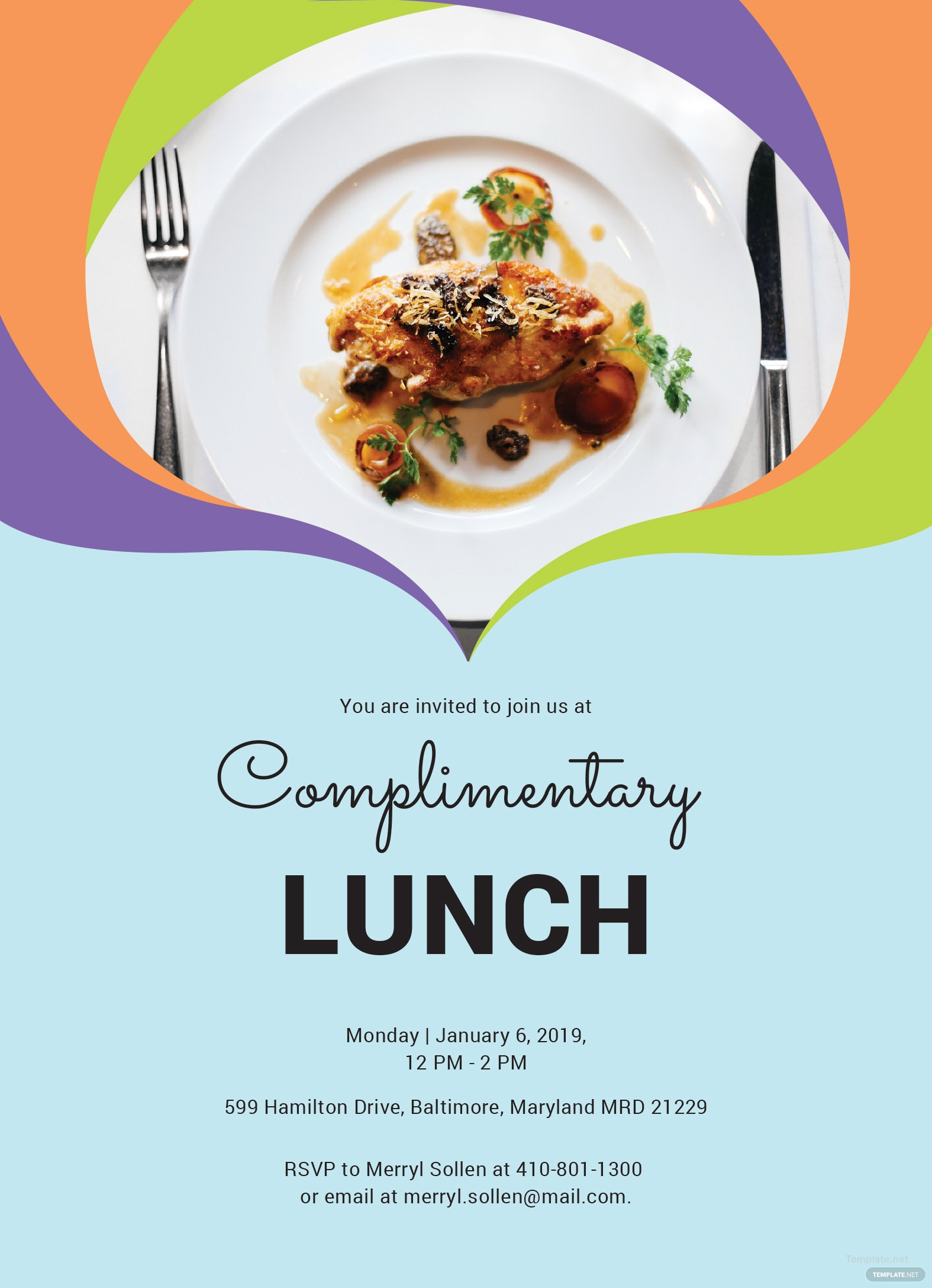 Free Complimentary Lunch Invitation Template in MS Word Publisher