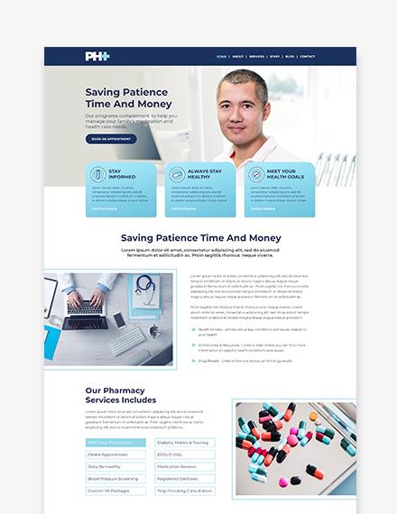 Sample Pharmacy Landing Page WordPress ThemeTemplate