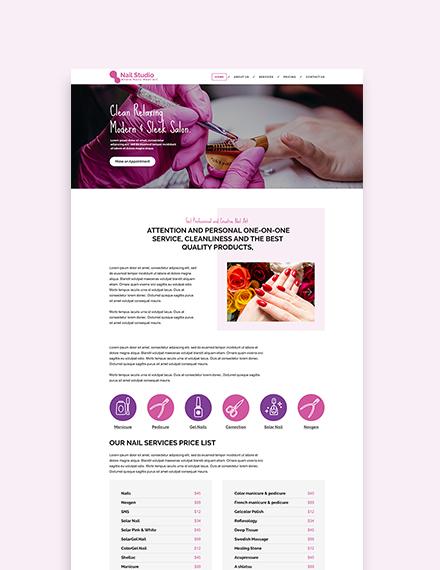 Sample Nail Studio WordPress ThemeTemplate