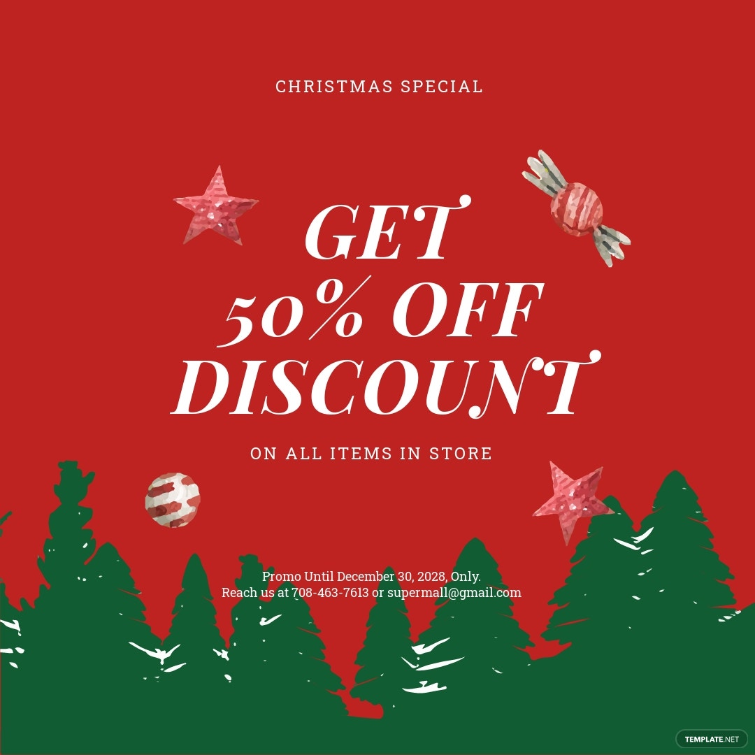 Free Holiday Off Discount Sale Instagram Post Template