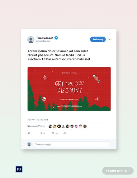 Free Holiday Off Discount Sale Twitter Post Template