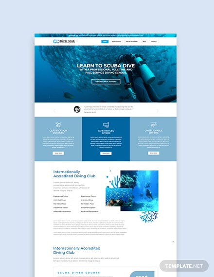 Sample Scuba Diving School WordPress ThemeTemplate