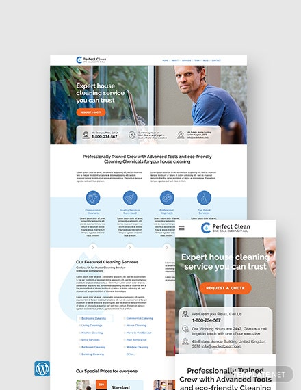Cleaning Service WordPress Theme/Template