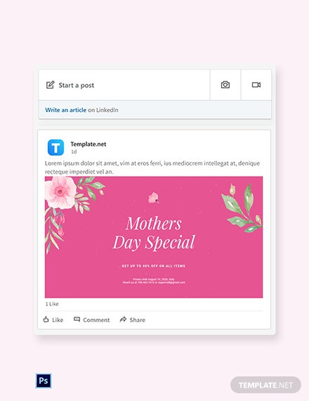 Free Mothers Day Special Sale Linkedin Post Template