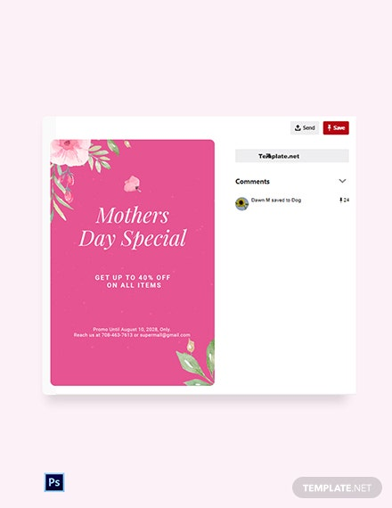 Free Mothers Day Special Sale Pinterest Pin Template