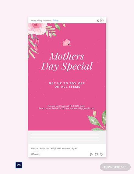 Free Mothers Day Special Sale Tumblr Post Template