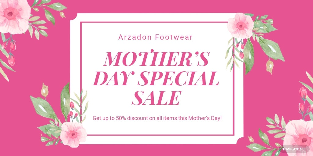 Free Mothers Day Special Sale Twitter Post Template