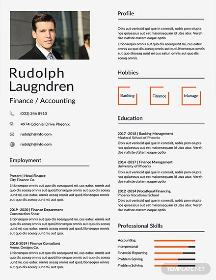 Free Finance Resume Template