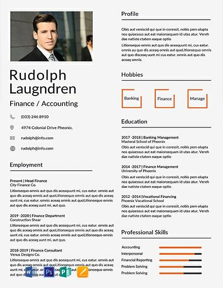 Free Finance Resume Template