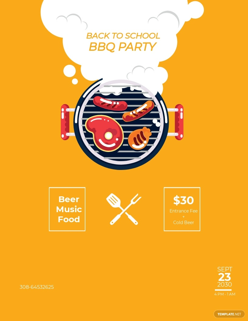 Back To School BBQ Flyer Template.jpe
