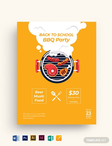 back to school bbq flyer