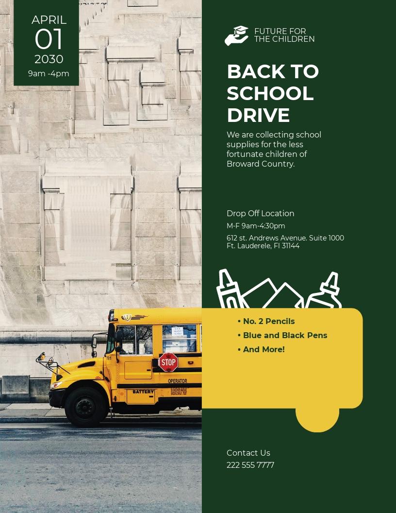 Back To School Drive Flyer Template.jpe