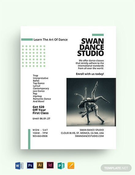 Dance Lesson And Studio Flyer