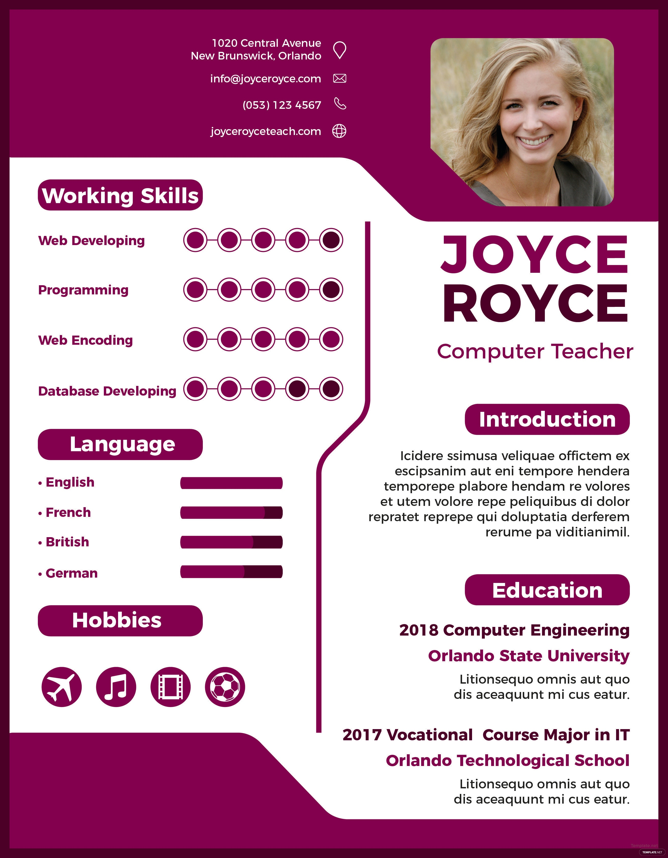 Free Computer Teacher Resume Template In Adobe Indesign  TemplateNet