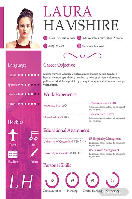 Free Hotel Job Resume for Fresher Template