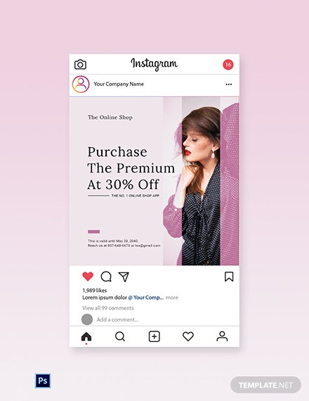 Free Shop App Promotion Instagram Post Template